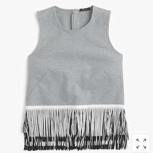 J crew Knit top with fun fringe